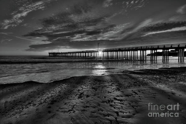 Photograph - Sunrays Through The Pier In Black And White by Beth Sargent