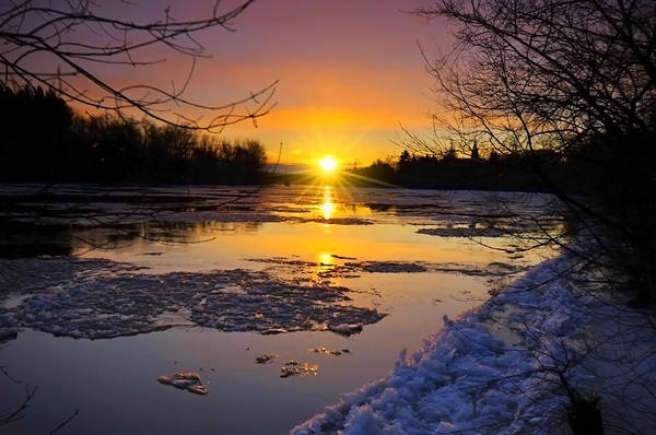 Frozen River Digital Art - Sunrise 2015 by Mark Silk