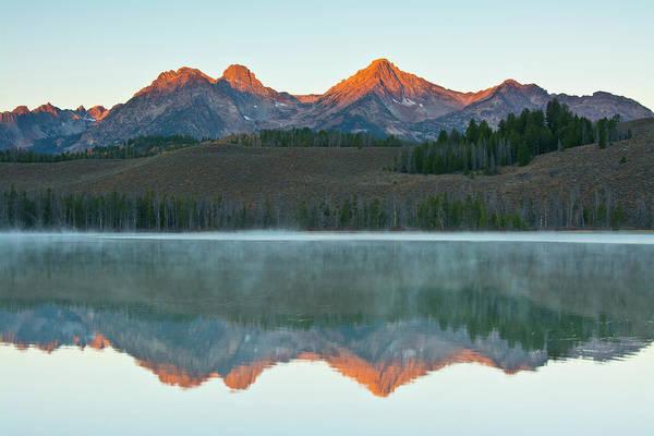 Redfish Lake Photograph - Sunrise, Alpenglow, Sawtooth Mountains by Michel Hersen