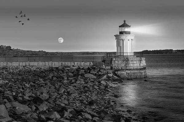 Photograph - Sunrise At Bug Light Bw by Susan Candelario