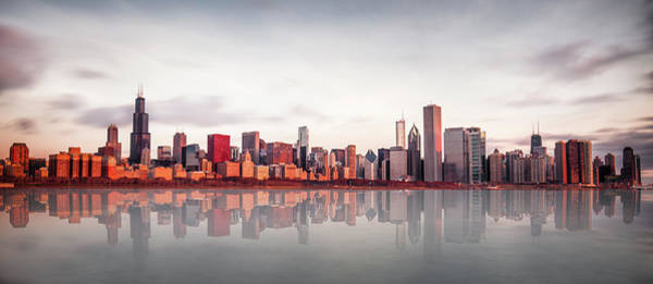 Sears Tower Photograph - Sunrise At Chicago by Marcin Kopczynski