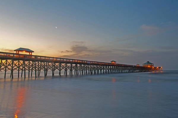 Low Battery Photograph - Sunrise At Folly Beach Pier   Charleston Sc by Willie Harper