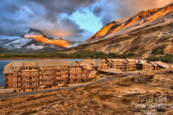 Photograph - Sunrise At Many Glacier by Adam Jewell