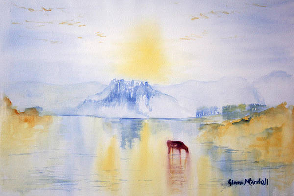 Painting - Sunrise At Norham Castle by Glenn Marshall