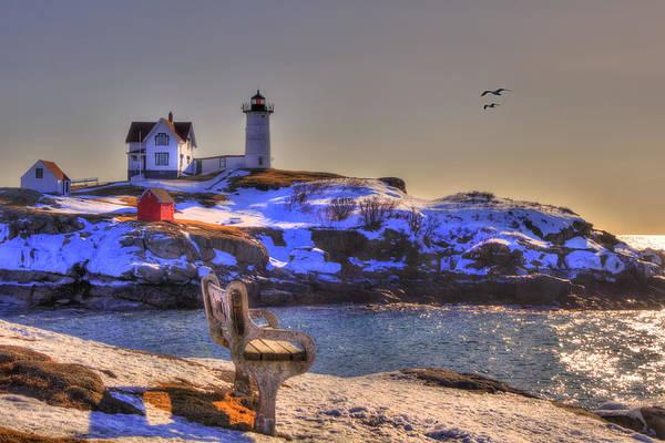Photograph - Sunrise At Nubble Lighthouse - Cape Neddick - York Maine by Joann Vitali