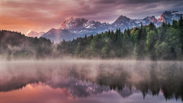 Paradise Photograph - Sunrise At The Lake by Andreas Wonisch