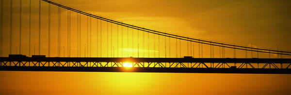 Suspended Photograph - Sunrise Bay Bridge San Francisco Ca Usa by Panoramic Images