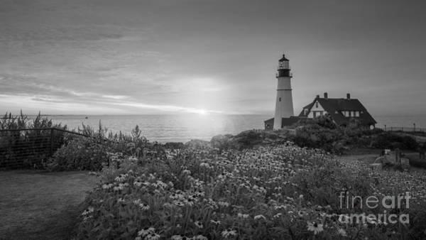 Portland Head Light Wall Art - Photograph - Sunrise Bliss At Portland Lighthouse Bw by Michael Ver Sprill