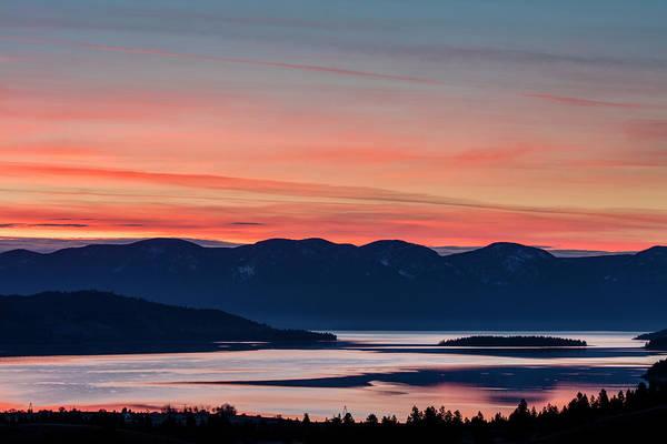 Wall Art - Photograph - Sunrise Color Over Flathead Lake by Chuck Haney