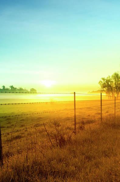 Fence Photograph - Sunrise Fence Line Central Indiana by Michael Huddleston / Artsyfartsytbarn