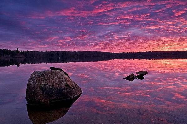 Photograph - Sunrise Fire Over Baxter Lake by Jeff Sinon