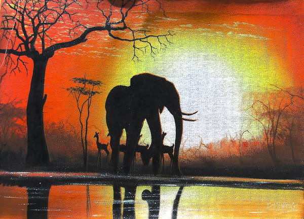 Painting - Sunrise In Africa by Mwangi