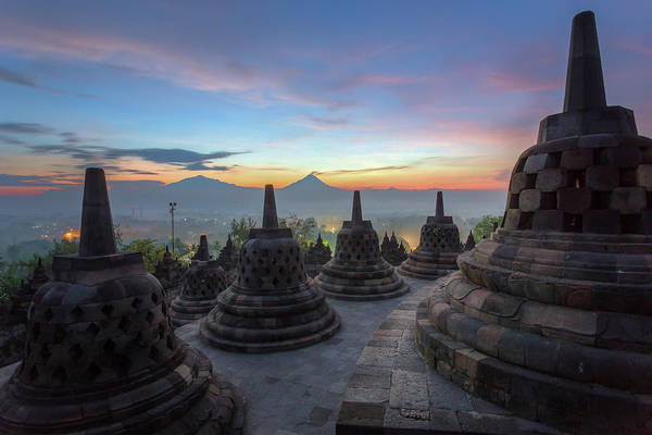 Indonesian Culture Photograph - Sunrise In Temple by Hak Liang Goh