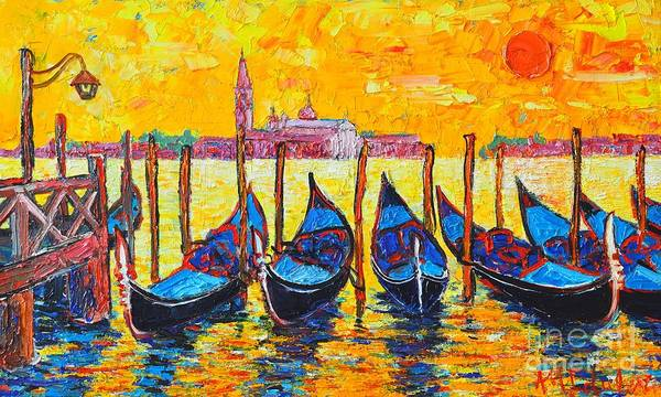 Maria Island Wall Art - Painting - Sunrise In Venice Italy Gondolas And San Giorgio Maggiore by Ana Maria Edulescu
