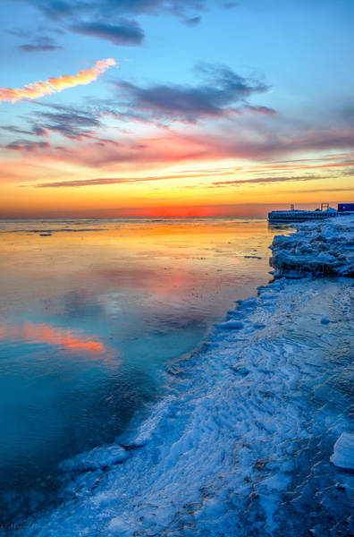 Photograph - Sunrise Lake Michigan North Of Chicago 1-4-14 001 by Michael  Bennett