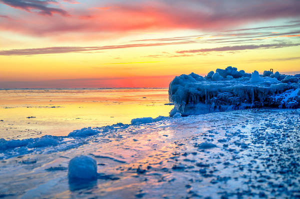 Photograph - Sunrise Lake Michigan North Of Chicago 1-4-14 004 by Michael  Bennett