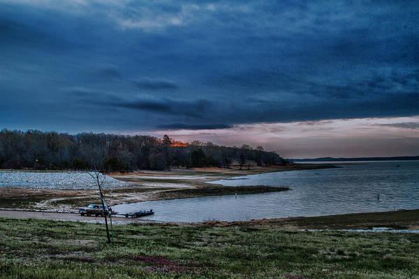 Photograph - Boat - Lake - Landscape - Sunrise Launch by Barry Jones