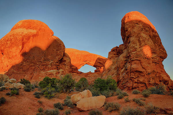 Natural Arch Photograph - Sunrise Light On Turret Arch by Don Smith