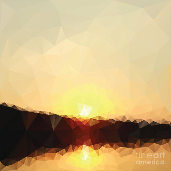 Triangle Digital Art - Sunrise Low Poly Effect Abstract Vector by Vinko93