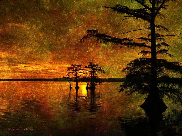 Cypress Digital Art - Sunrise Mystique by J Larry Walker
