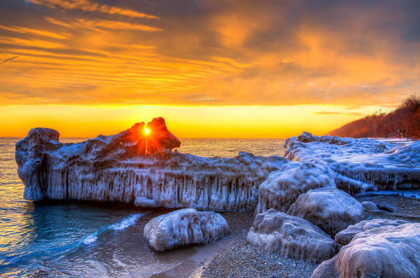 Photograph - Sunrise North Of Chicago Lake Michigan 1-12-14 by Michael  Bennett