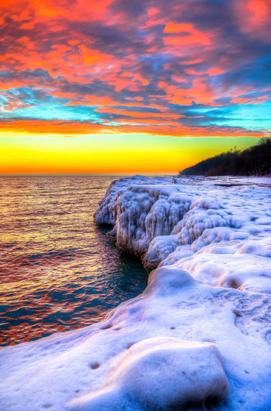 Sunrise North Of Chicago Lake Michigan 1-14-14 Art Print by Michael  Bennett