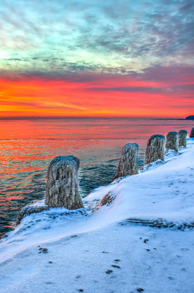 Photograph - Sunrise North Of Chicago Lake Michigan 1-18-14 by Michael  Bennett