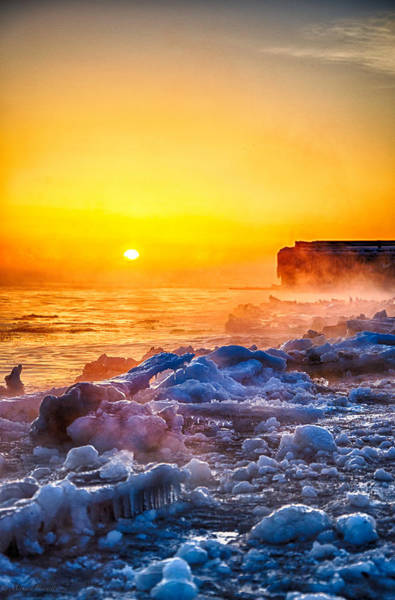 Photograph - Sunrise North Of Chicago Lake Michigan 1-3-14  by Michael  Bennett