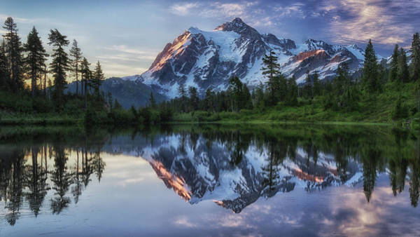 Clear Water Photograph - Sunrise On Mount Shuksan by James K. Papp