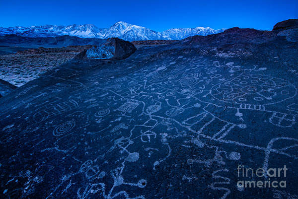Petroglyph Photograph - Sunrise On Sky Rock Petroglyph And Sierra Nevada Mountains by Gary Whitton