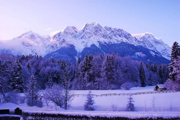 Bavarian Alps Painting - Sunrise On Snowy Mountain by Misuk Jenkins