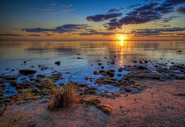 Blue Water Photograph - Sunrise Over Lake Michigan by Scott Norris
