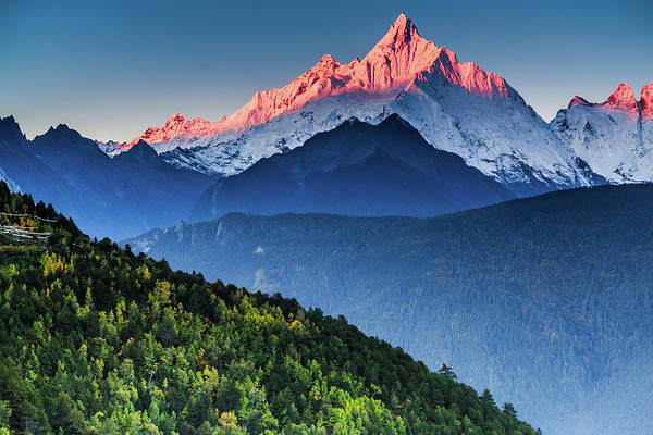 Alpenglow Photograph - Sunrise Over Mianzimu Peak, Meili Snow by Feng Wei Photography