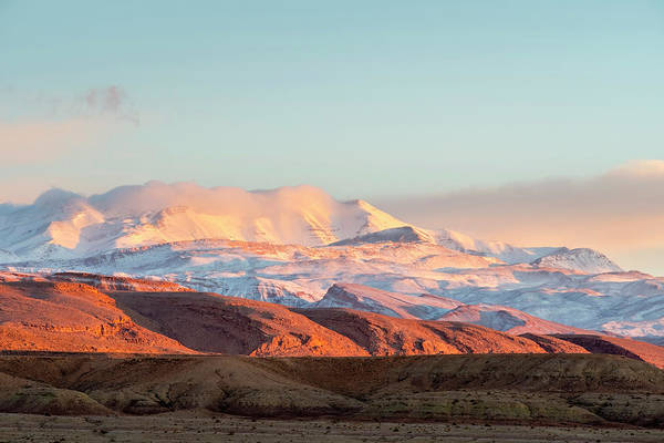 Ait Benhaddou Photograph - Sunrise Over Snow Covered Atlas by Jason Langley