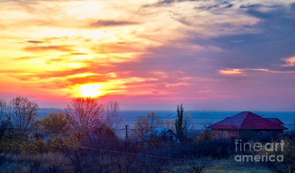 Wall Art - Photograph - Sunrise Over Stanca Village In Romania by Gabriela Insuratelu