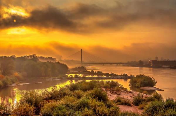 Sunrise Over Swiatokrzyski Bridge In Warsaw Art Print