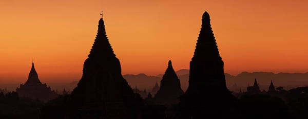 Wall Art - Photograph - Sunrise Over Temples In Bagan by Hadynyah