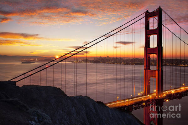 Art Print featuring the photograph Sunrise Over The Golden Gate Bridge by Brian Jannsen