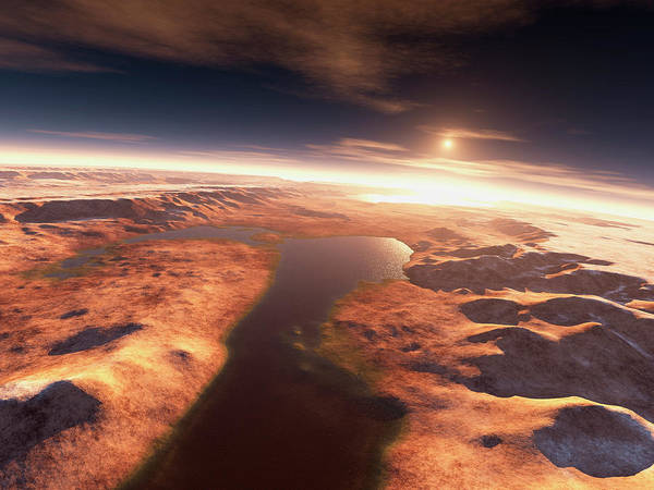 Rising Water Photograph - Sunrise Over Water On Mars by Kees Veenenbos/science Photo Library