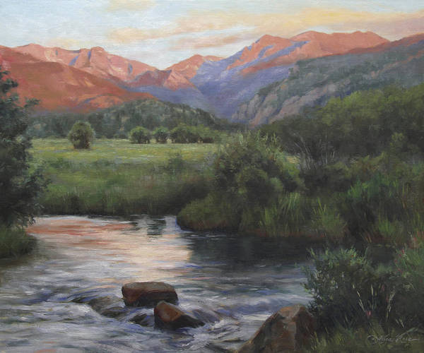 Colorado Landscape Painting - Sunrise Rocky Mountain National Park by Anna Rose Bain