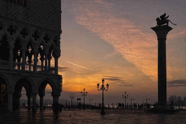 After Dark Photograph - Sunrise St Mark's Square by Marion Galt