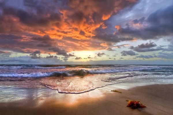 Boynton Photograph - Sunrise Waves by Debra and Dave Vanderlaan