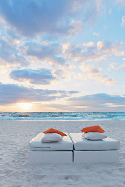 Lounge Chair Photograph - Sunrise With Ocean And Lounge Seat With by Sasha Weleber
