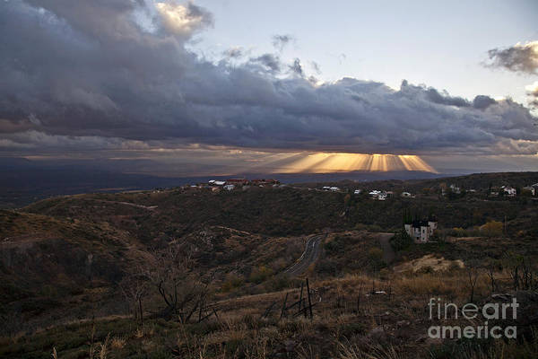 Photograph - Suns Rays After Sunrise From Jerome Arizona by Ron Chilston