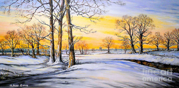 Wall Art - Painting - Sunset And Snow by Andrew Read