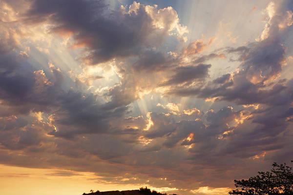 Wall Art - Photograph - Sunset Art Prints Sun Rays Twilight Clouds by Baslee Troutman