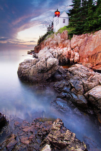 Silky Wall Art - Photograph - Sunset At Bass Harbor Lighthouse by Mircea Costina