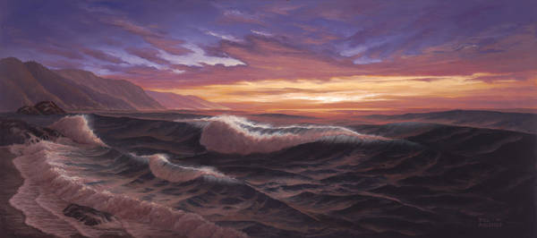 Big Wave Painting - Sunset At Big Sur by Del Malonee