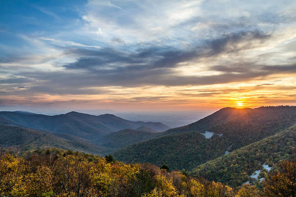 Photograph - Sunset At Blackrock Mountain Shenandoah National Park by Pierre Leclerc Photography