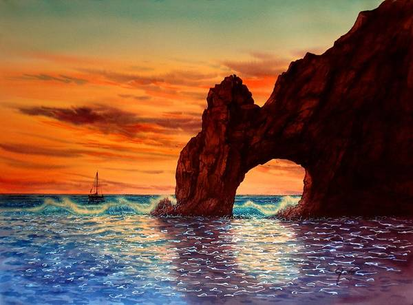 Sunset At Cabo San Lucas Art Print